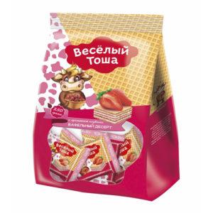Bánh xốp Veselye Tosha vị dâu, 250 gr.